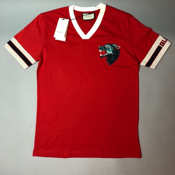 01f445d25 Shirts | Gucci Stripe Tshirt With Wolf Head Red | Poshmark